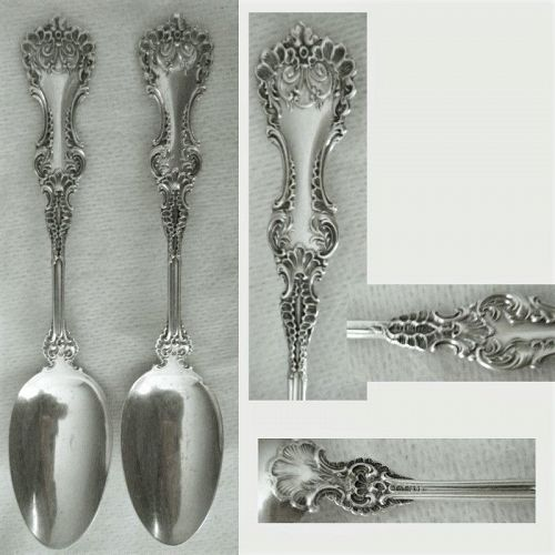 """Whiting """"Pomadour"""" Two 5 O'Clock Sterling Silver Spoons"""