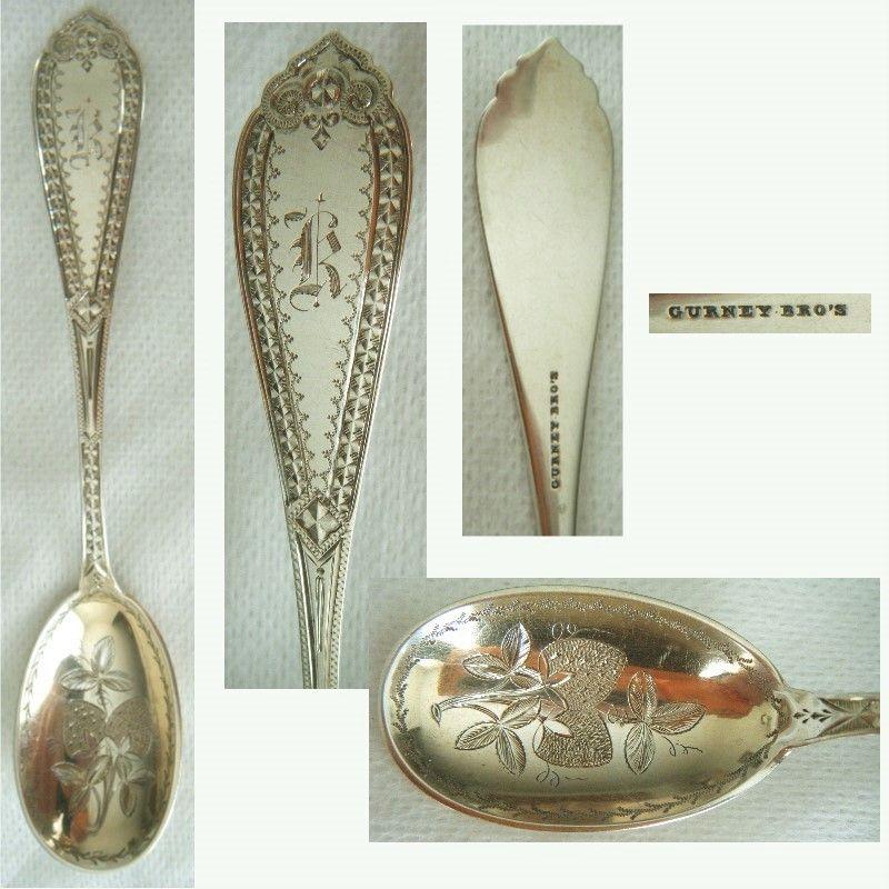 Gurney Bro's., Brockton MA, Bright Cut Coin Silver Sugar Spoon
