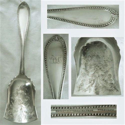 "Bailey Kettell & Chapman ""Bead"" Coin Silver c. 1855 Berry Shovel"