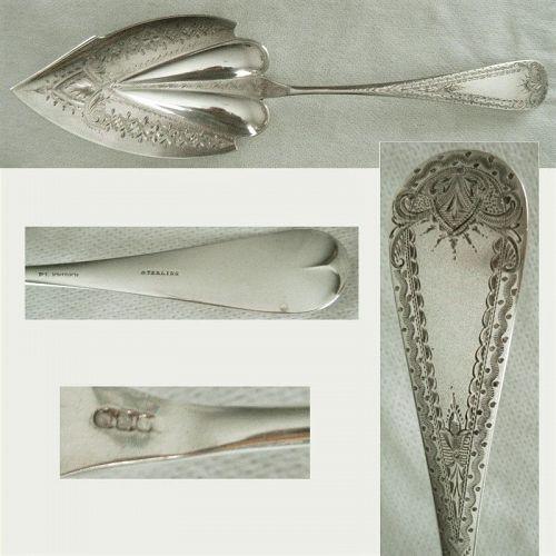 P.L. Krider Bright Cut Circa 1870 Sterling Silver Ice Cream Server