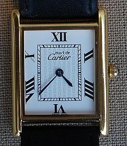Cartier Men's Vermeil Tank Wrist Watch