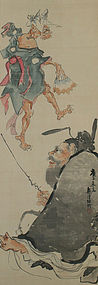 A Japanese Painting, Oni and the Ruler of Hell by Mugyu