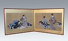 Japanese Antique Ukiyo-e Folding Screen, Beauties