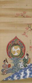 Antique Japanese Painting Bugaku zu by Yanagisawa Kien