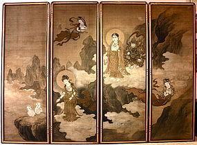Japanese 4-Panels Screen on Silk Signed Akihura