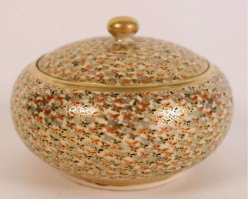 Japanese Earthenware Candy Box From Satsuma With A Thousand Butterflie