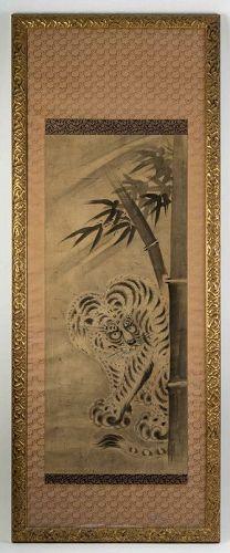 Framed  Japanese Kakemono Tiger under Bamboos