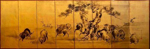 Japanese 8-Panel Screen sumi-e on Gold Ground Kô Sukoku