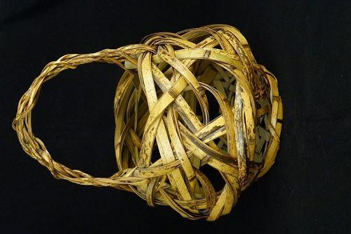 Japanese Handmade Vintage Bamboo Woven Flower Basket