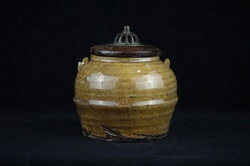 Very Rare Mid-Edo period Ki-Seto Incense Burner Mimi-Tsuki Koro
