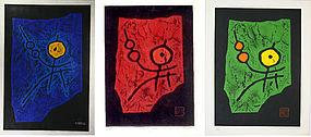 "Haku Maki 'Triptych"" Japanese Prints 1968  1969 Child"