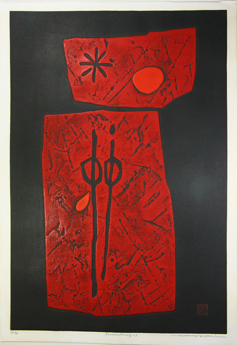 Haku Maki 1967 Flower Song 6 Great Red  abstract