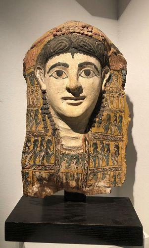 An egyptian funerary mask, roman period, 1st century A.D