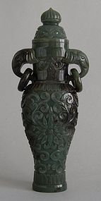 Chinese jade vase with elephant heads and moving rings