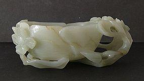Chinese jade lotus cup Ming 17 C.