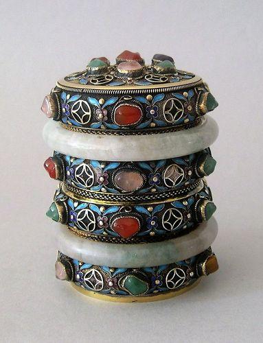 Chinese jade mounted silver enameled box