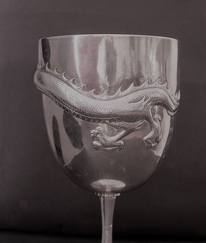 Chinese silver goblet by Wang Hing
