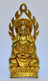 A Chinese Gold Seated Guanyin