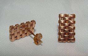 14K Rose Gold Retro Earrings c1940s