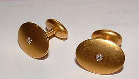 Vintage Retro 14K Yellow Gold Diamond Cufflinks