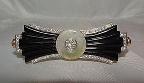 18K Art Deco Onyx Diamond Jade Ruby Brooch
