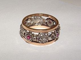 Vintage 14K Gold Garnet Eternity Ring c.1940s