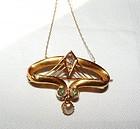 Art Deco 18K Gold Diamond Peridot Pearl Pendant & Chain