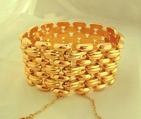 14K Gold Retro Wide Link Bracelet c.1940