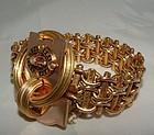 18K Gold Victorian Enamel Medallion Locket Bracelet