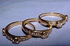 Vintage 18K Yellow Gold Diamond 3 Stack Ring Set 1+ ctw