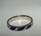 14K White Gold Cobalt Blue Enamel Diamond Eternity Ring