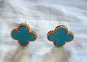 New 18K Yellow Gold Flower Clover Turquoise Earrings
