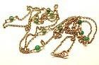 "14K Yellow Gold Watch Chain w Chrysoprase Beads 68"""