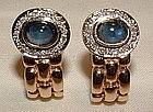 14K YG Sapphire Diamond Earrings Very 'Bulgari!'