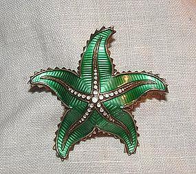 David Andersen Silver Enamel Green Starfish Pin Norway
