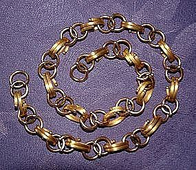 """Rose and Yellow Gold Bookchain Necklace 18"""""""