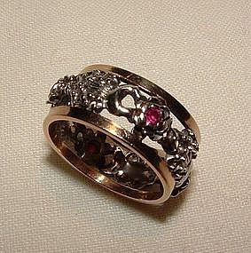 14K Yellow and White Gold Garnet Eternity Ring