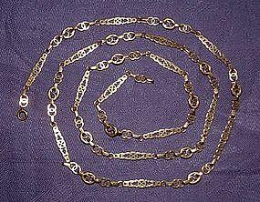 18K Yellow Gold Watch Chain 35.5 Inches Italian