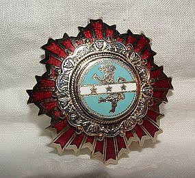 Silver and Enamel Badge Pin