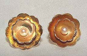 Tiffany 14K Yellow Gold Pearl Earrings Circa 1950