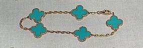 Auth Van Cleef Arpels 18K Turquoise Alhambra Bracelet
