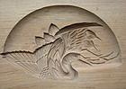 Kashigata, Wooden Sweet Mold, Crane (Tsuru) Motif
