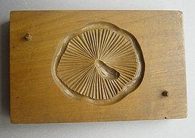 Kashigata, Wooden Sweet Mold, Shiitake Mushroom Motif