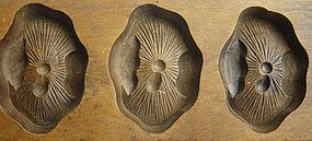 Kashigata, Wooden Sweet Mold, Mushroom Motif