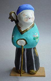 Miharu Hariko Papier-mache Doll, Lute (Biwa) Player