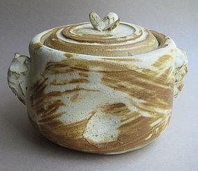 Mizusashi, Water Jar, Bamboo Ash Glaze; Sachiko Furuya