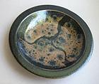 Mashiko-yaki Plate, by Tagami Isamu. Black & Kaki Glaze