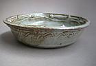 Round Dish with Shino & Bamboo Ash Glazes, Sachiko Furuya