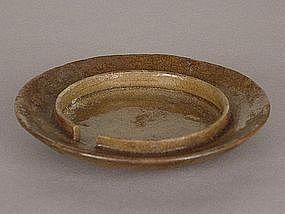 Mino-yaki Toushin-zara (Oil Lamp WickPlate,) Edo Period