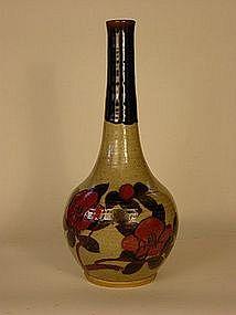 Mashiko-yaki vase, ca. 1960's, Camelia pattern